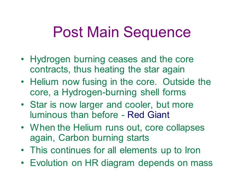 Post Main Sequence Hydrogen burning ceases and the core contracts, thus heating the star again Helium now fusing in the core. Outside the core, a Hydr