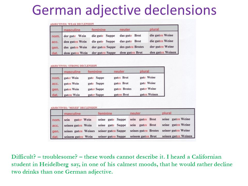 German adjective declensions Difficult? – troublesome? – these words cannot describe it. I heard a Californian student in Heidelberg say, in one of hi
