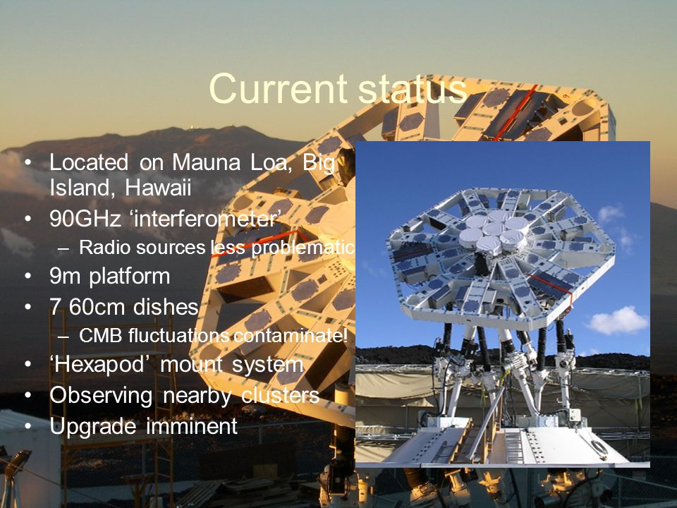 Current status Located on Mauna Loa, Big Island, Hawaii 90GHz interferometer –Radio sources less problematic 9m platform 7 60cm dishes –CMB fluctuations contaminate.