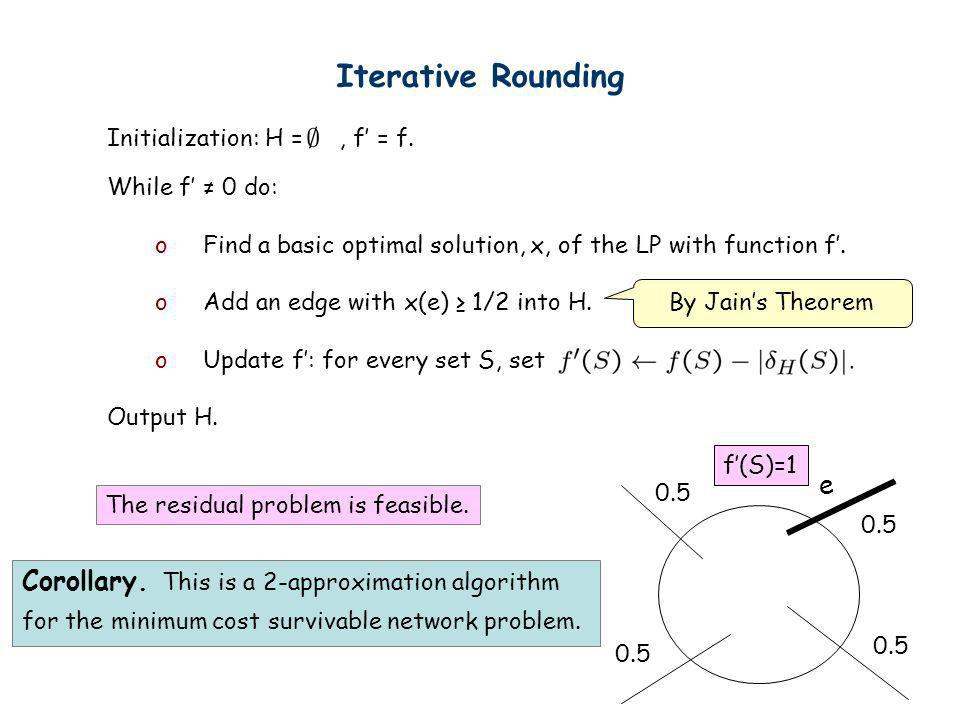 Iterative Rounding Initialization: H =, f = f. While f 0 do: oFind a basic optimal solution, x, of the LP with function f. oAdd an edge with x(e) 1/2