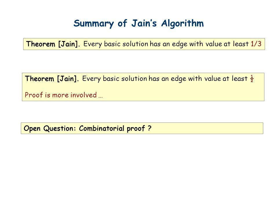 Summary of Jains Algorithm Theorem [Jain]. Every basic solution has an edge with value at least 1/3 Theorem [Jain]. Every basic solution has an edge w