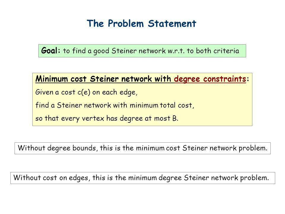 The Problem Statement Goal: to find a good Steiner network w.r.t. to both criteria Minimum cost Steiner network with degree constraints: Given a cost