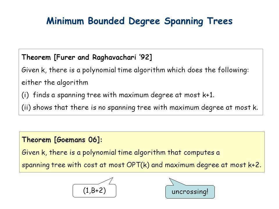 Minimum Bounded Degree Spanning Trees Theorem [Furer and Raghavachari 92] Given k, there is a polynomial time algorithm which does the following: eith