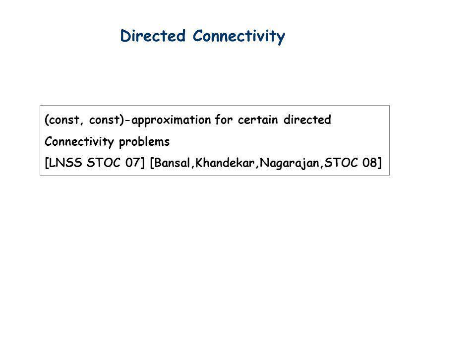 Directed Connectivity (const, const)-approximation for certain directed Connectivity problems [LNSS STOC 07] [Bansal,Khandekar,Nagarajan,STOC 08]