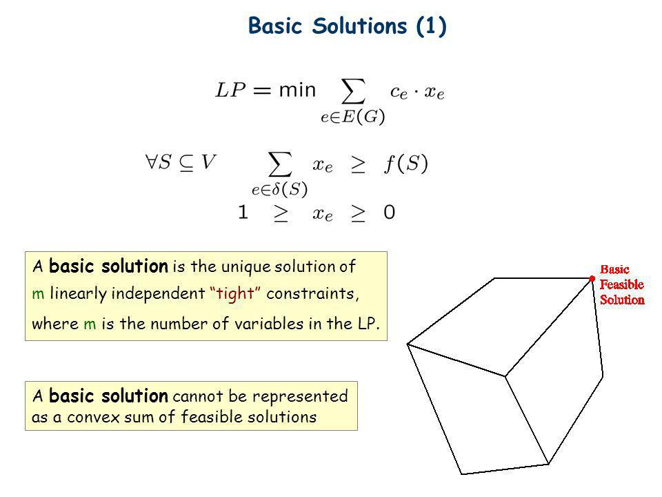 Basic Solutions (1) A basic solution is the unique solution of m linearly independent tight constraints, where m is the number of variables in the LP.