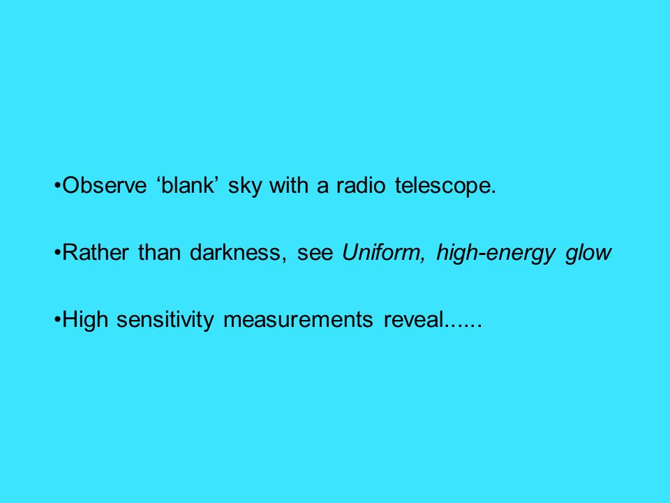 Observe blank sky with a radio telescope. Rather than darkness, see Uniform, high-energy glow High sensitivity measurements reveal......