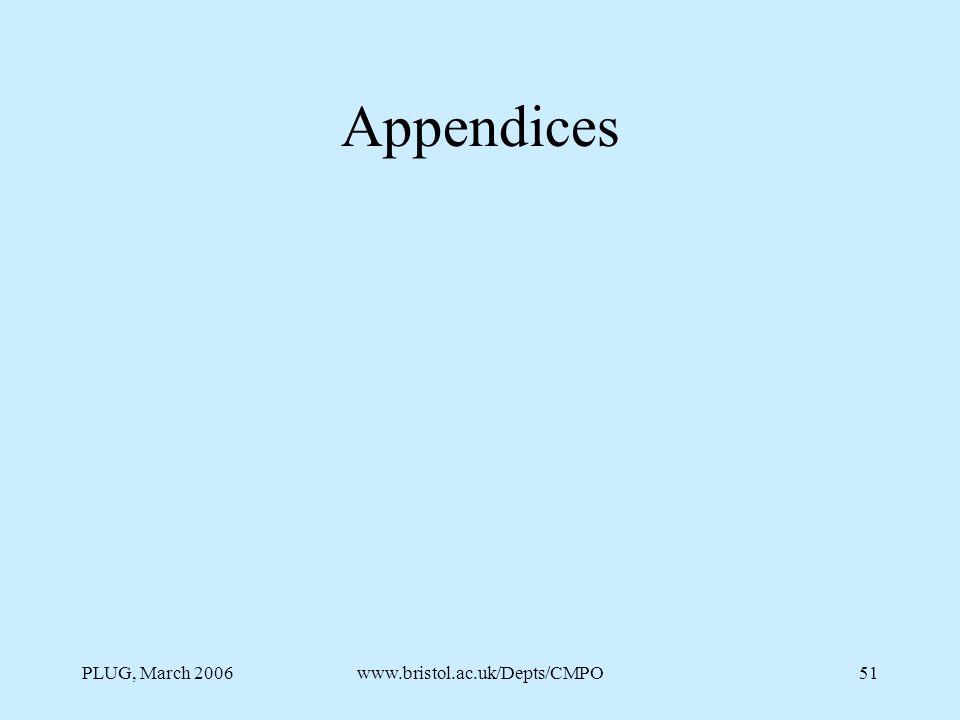 PLUG, March 2006www.bristol.ac.uk/Depts/CMPO51 Appendices