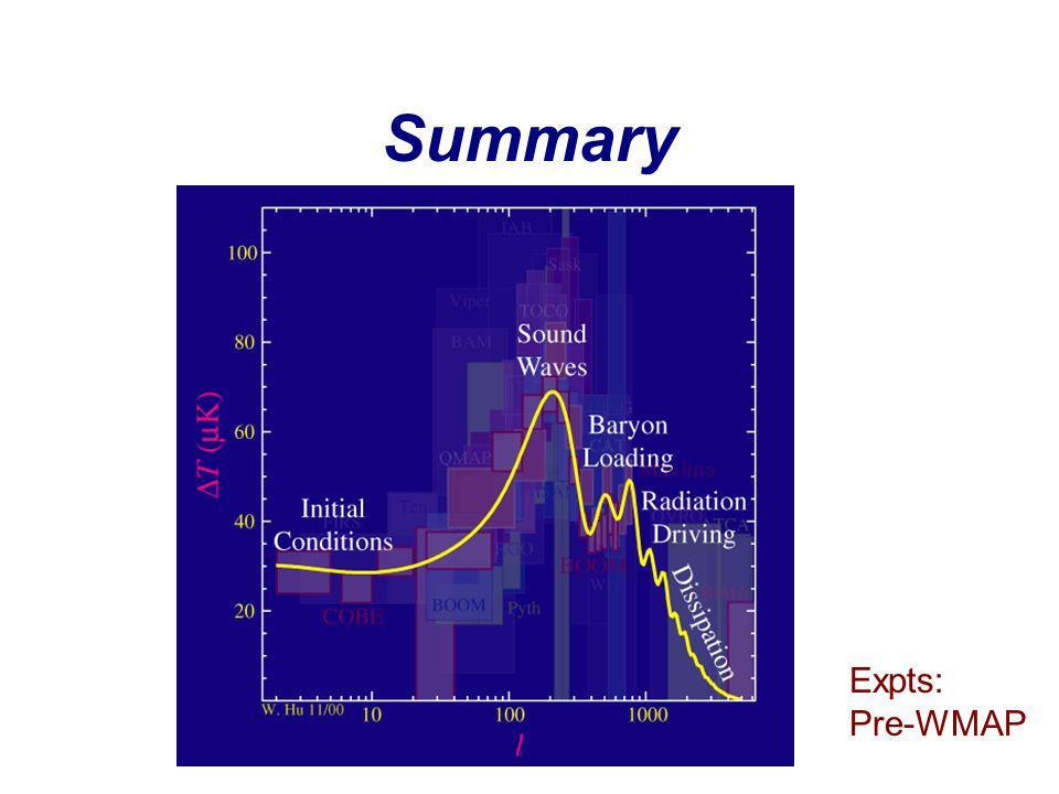 Summary Expts: Pre-WMAP