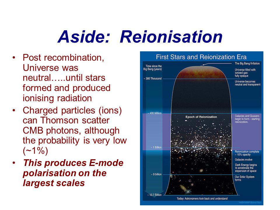 Aside: Reionisation Post recombination, Universe was neutral…..until stars formed and produced ionising radiation Charged particles (ions) can Thomson scatter CMB photons, although the probability is very low (~1%) This produces E-mode polarisation on the largest scales