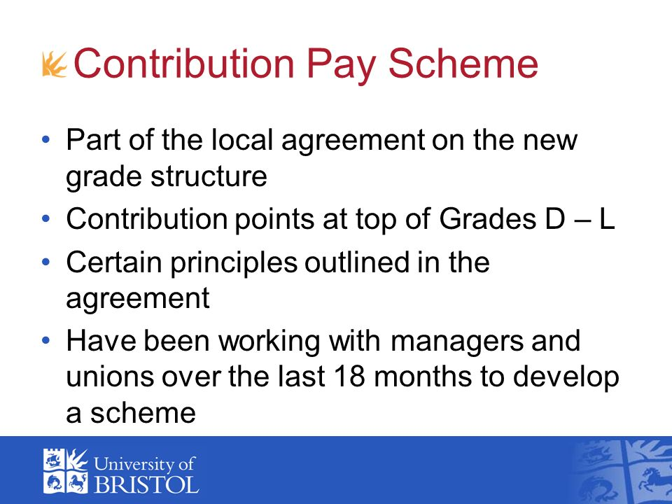 Contribution Pay Scheme Part of the local agreement on the new grade structure Contribution points at top of Grades D – L Certain principles outlined in the agreement Have been working with managers and unions over the last 18 months to develop a scheme