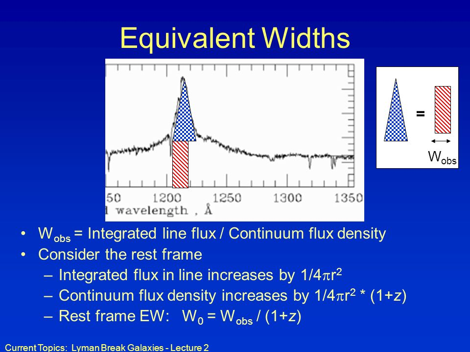 Current Topics: Lyman Break Galaxies - Lecture 2 Equivalent Widths W obs = Integrated line flux / Continuum flux density Consider the rest frame –Inte