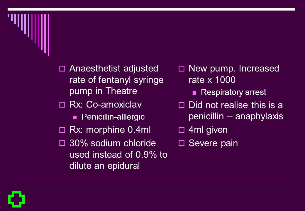 Anaesthetist adjusted rate of fentanyl syringe pump in Theatre Rx: Co-amoxiclav Penicillin-alllergic Rx: morphine 0.4ml 30% sodium chloride used inste