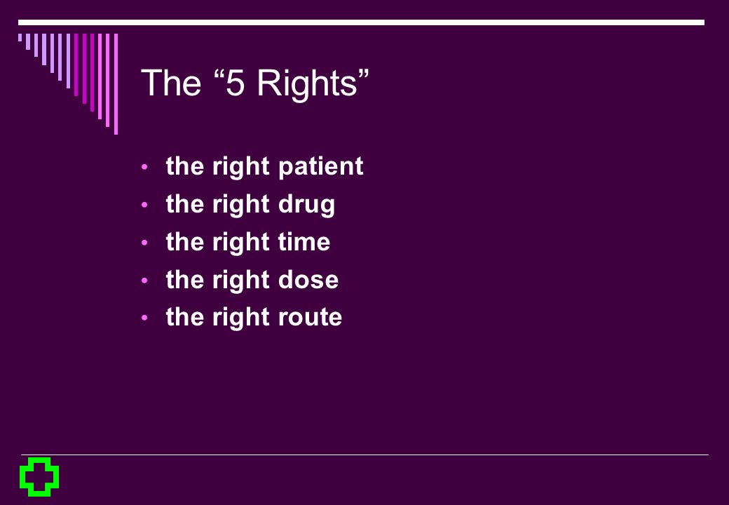 The 5 Rights the right patient the right drug the right time the right dose the right route