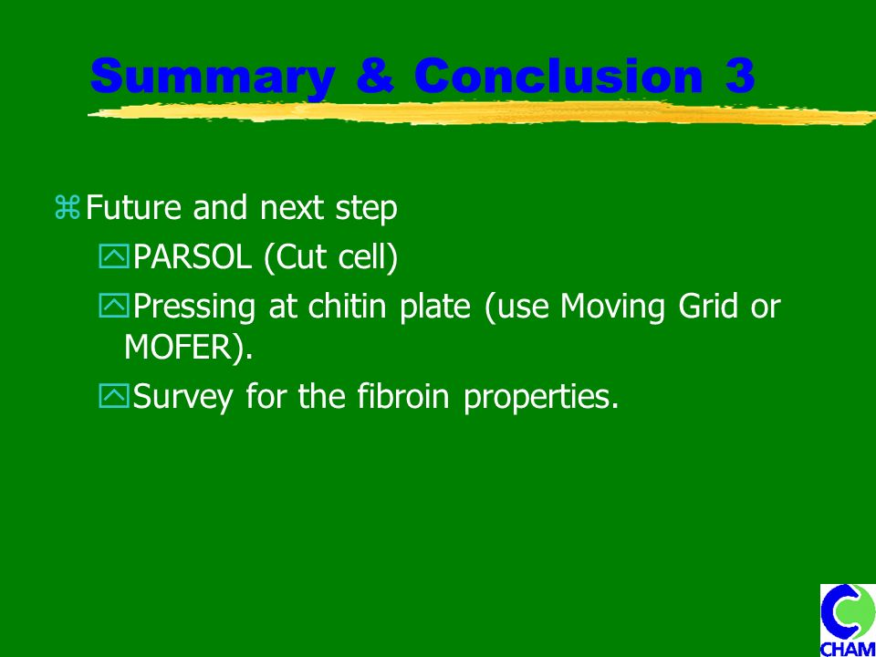 Summary & Conclusion 3 Future and next step PARSOL (Cut cell) Pressing at chitin plate (use Moving Grid or MOFER).
