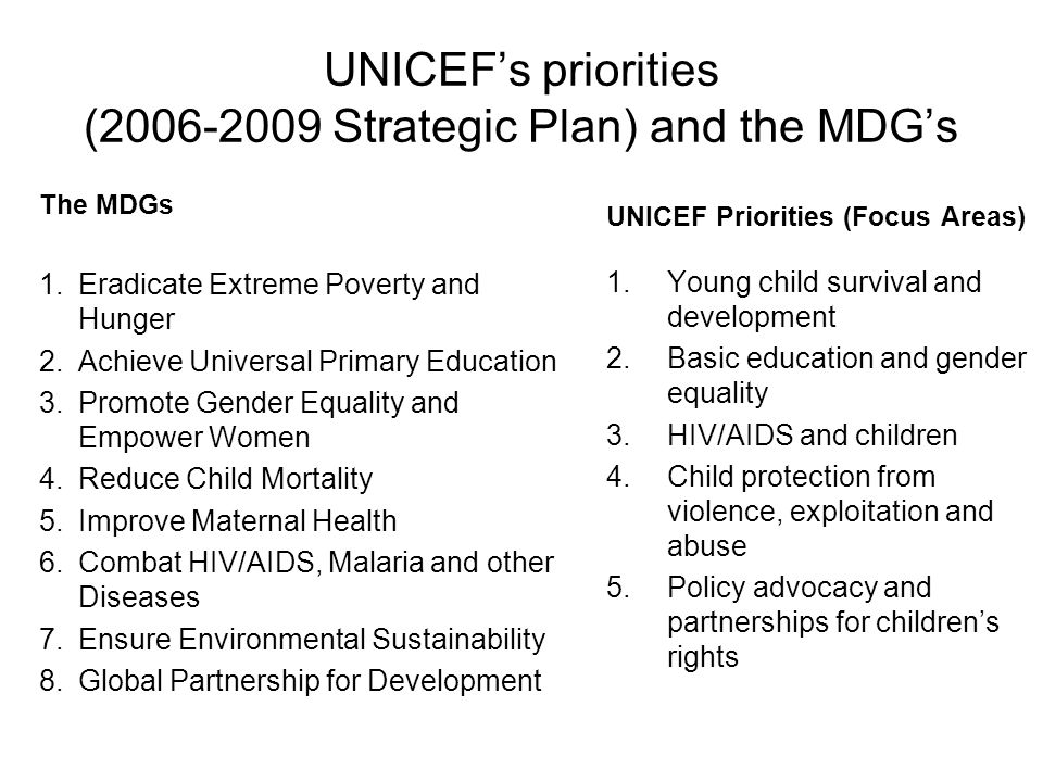 UNICEFs priorities (2006-2009 Strategic Plan) and the MDGs UNICEF Priorities (Focus Areas) 1.Young child survival and development 2.Basic education an
