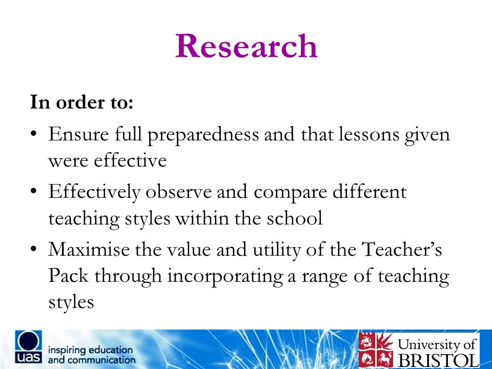 Research In order to: Ensure full preparedness and that lessons given were effective Effectively observe and compare different teaching styles within