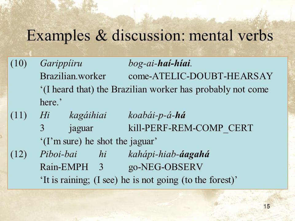 15 Examples & discussion: mental verbs (10)Garippíirubog-ai-haí-híai.
