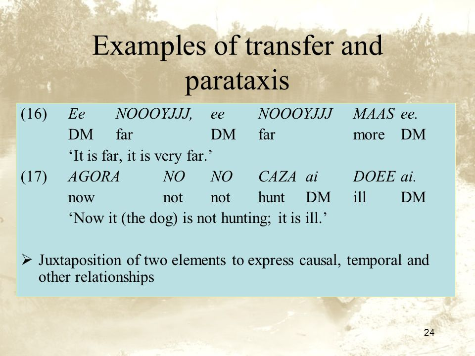 24 Examples of transfer and parataxis (16)Ee NOOOYJJJ, ee NOOOYJJJMAAS ee.