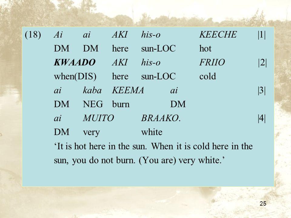 25 (18)AiaiAKIhis-oKEECHE|1| DMDMheresun-LOChot KWAADOAKIhis-oFRIIO|2| when(DIS)heresun-LOCcold aikabaKEEMAai|3| DMNEGburnDM ai MUITOBRAAKO.|4| DMverywhite It is hot here in the sun.