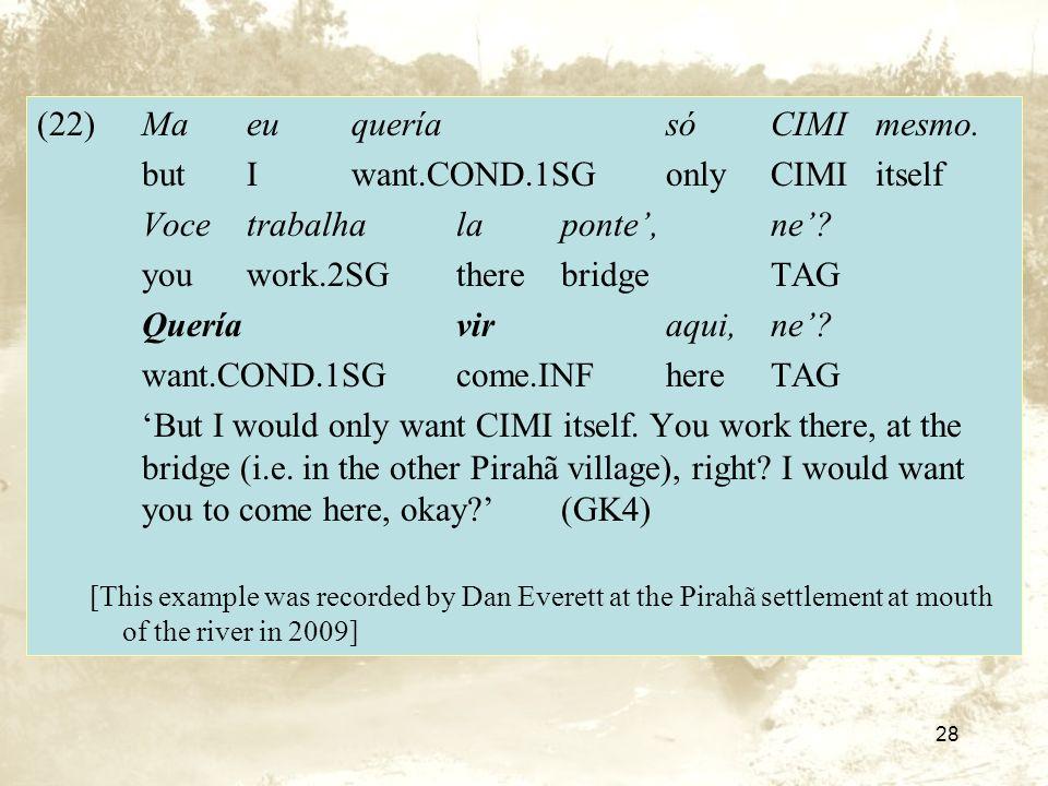 28 (22)Ma eu quería só CIMI mesmo.butIwant.COND.1SGonlyCIMIitself Voce trabalha la ponte, ne.