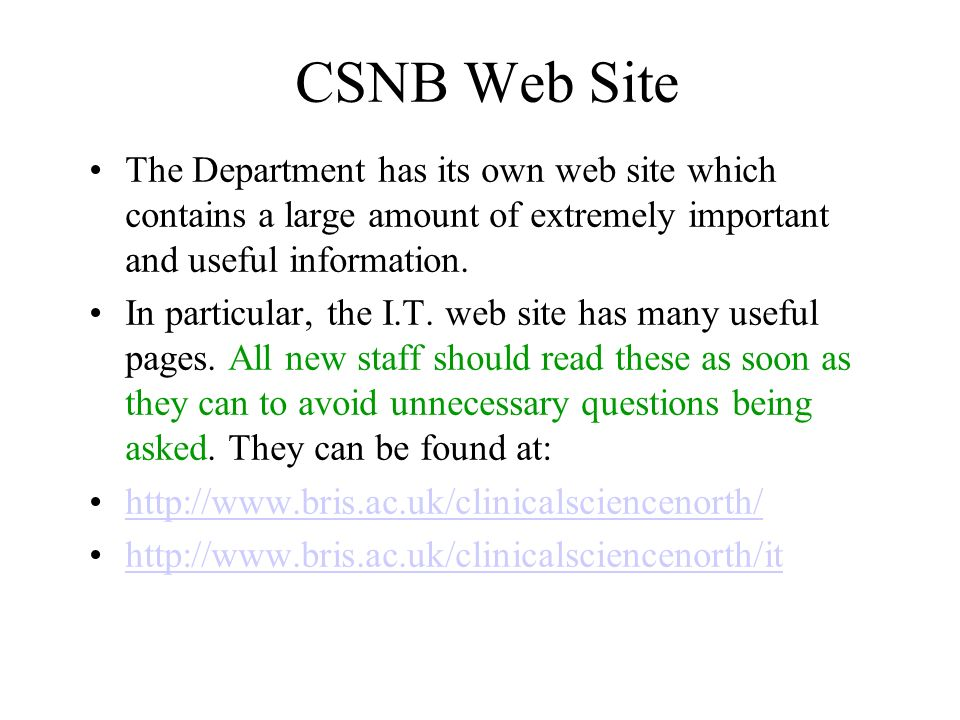 CSNB Web Site The Department has its own web site which contains a large amount of extremely important and useful information.