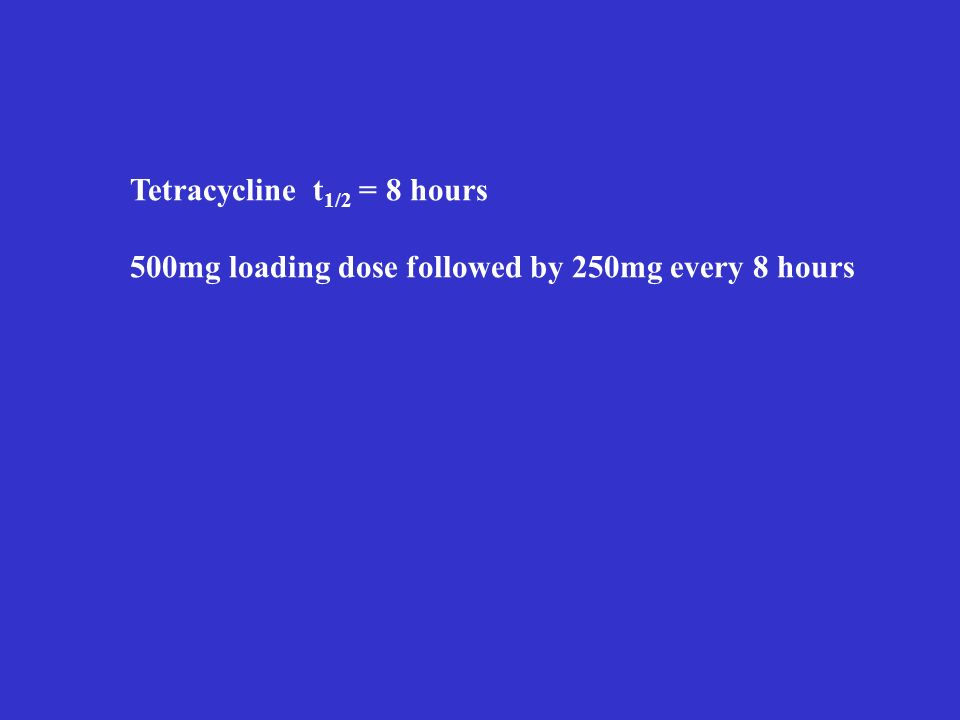 Tetracycline t 1/2 = 8 hours 500mg loading dose followed by 250mg every 8 hours