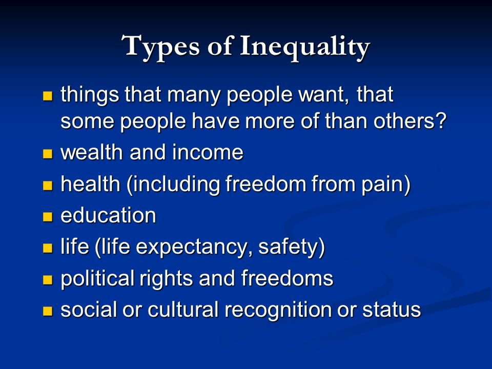 Inequality the degree to which cases differ from the mean (especially in their share of something desirable) the degree to which cases differ from the