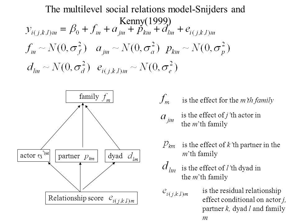 The multilevel social relations model-Snijders and Kenny(1999) family dyad actor partner Relationship score is the effect for the mth family is the effect of jth actor in the mth family is the effect of kth partner in the mth family is the effect of lth dyad in the mth family is the residual relationship effect conditional on actor j, partner k, dyad l and family m