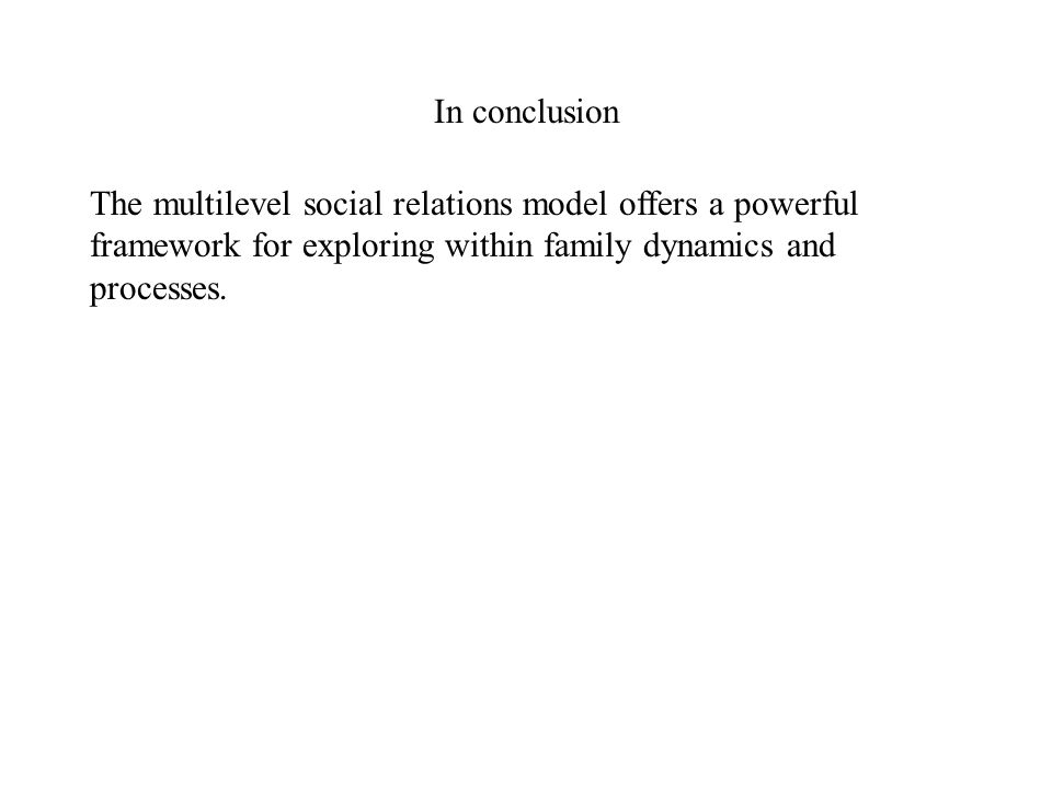 In conclusion The multilevel social relations model offers a powerful framework for exploring within family dynamics and processes.