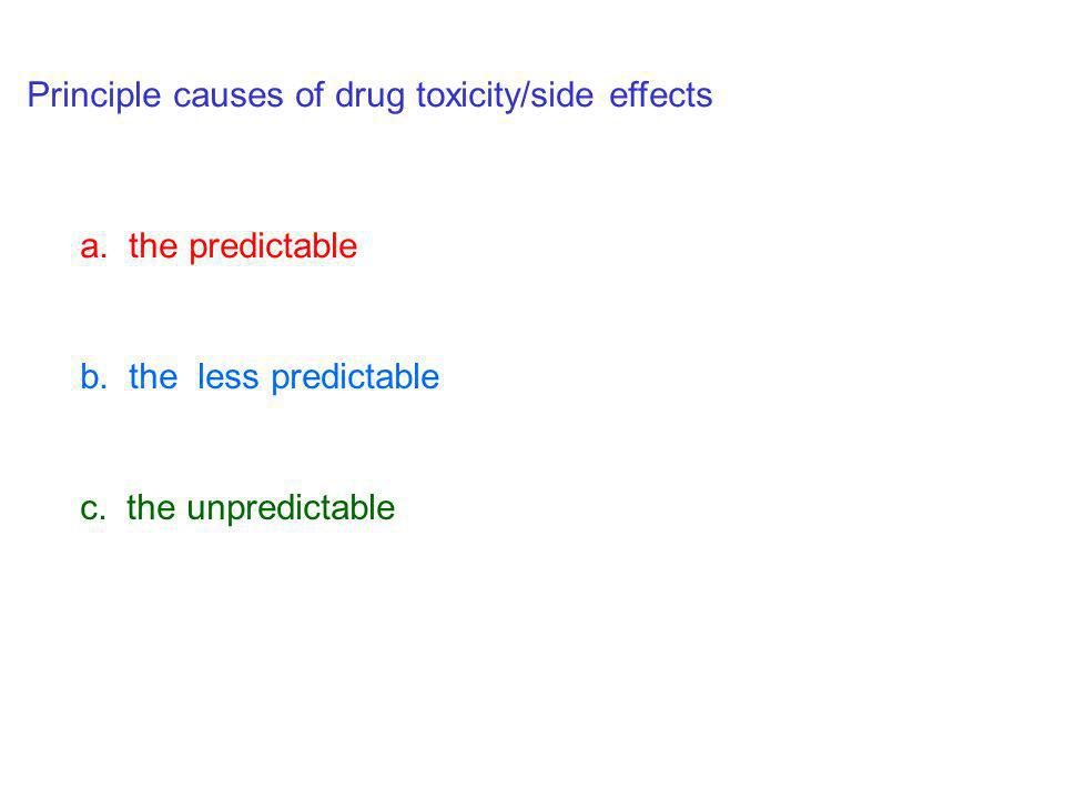 Principle causes of drug toxicity/side effects a. the predictable b. the less predictable c. the unpredictable