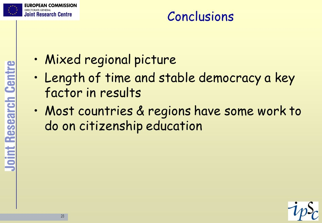 28 Conclusions Mixed regional picture Length of time and stable democracy a key factor in results Most countries & regions have some work to do on cit