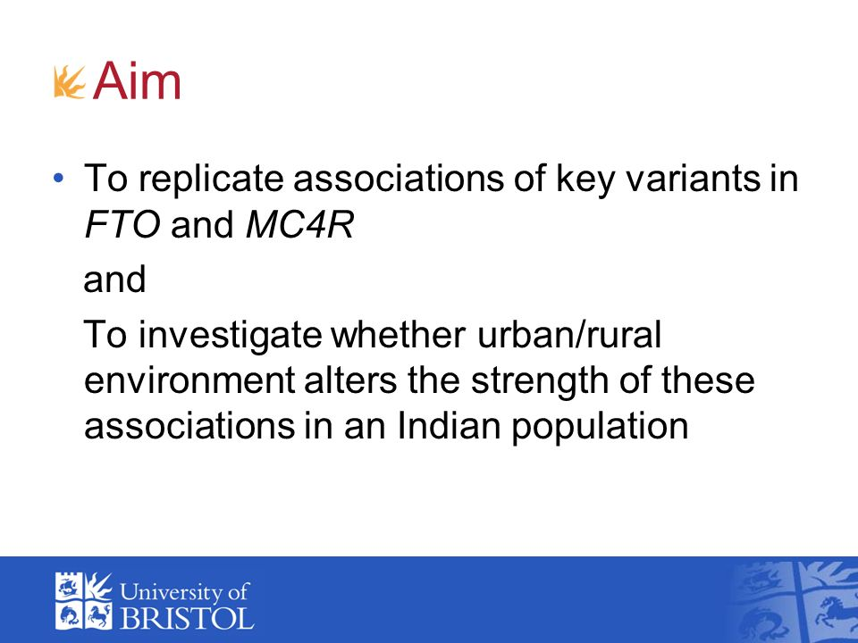 Aim To replicate associations of key variants in FTO and MC4R and To investigate whether urban/rural environment alters the strength of these associations in an Indian population