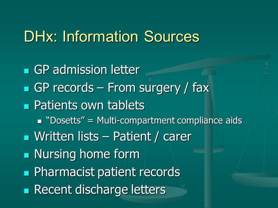 DHx: Information Sources GP admission letter GP admission letter GP records – From surgery / fax GP records – From surgery / fax Patients own tablets