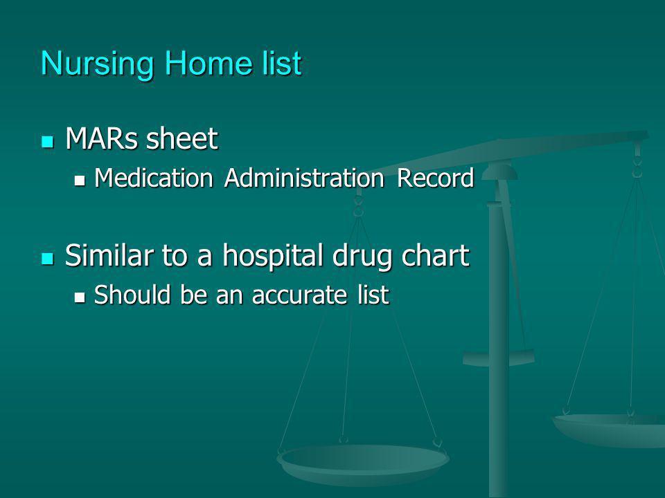 Nursing Home list MARs sheet MARs sheet Medication Administration Record Medication Administration Record Similar to a hospital drug chart Similar to