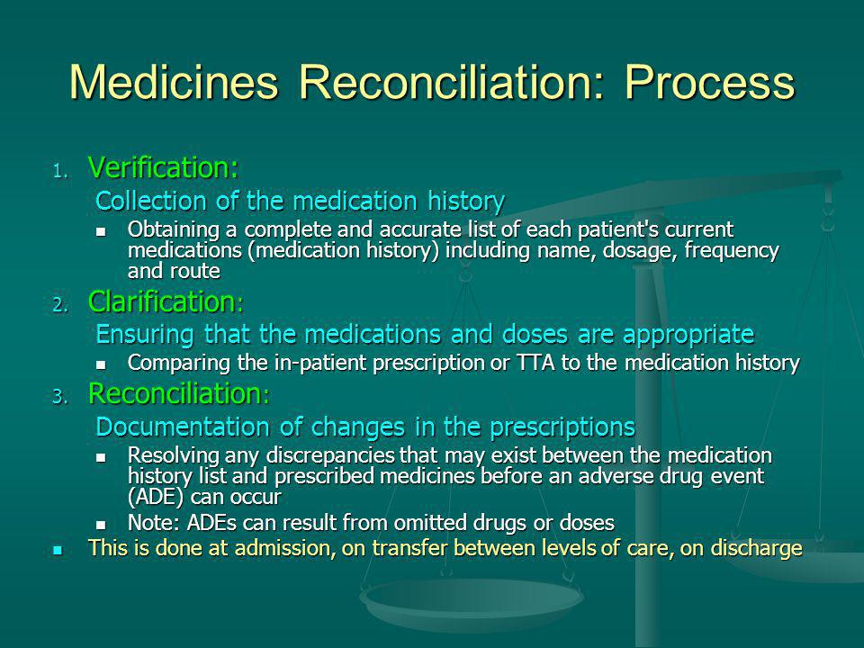 Medicines Reconciliation: Process 1. Verification: Collection of the medication history Obtaining a complete and accurate list of each patient's curre