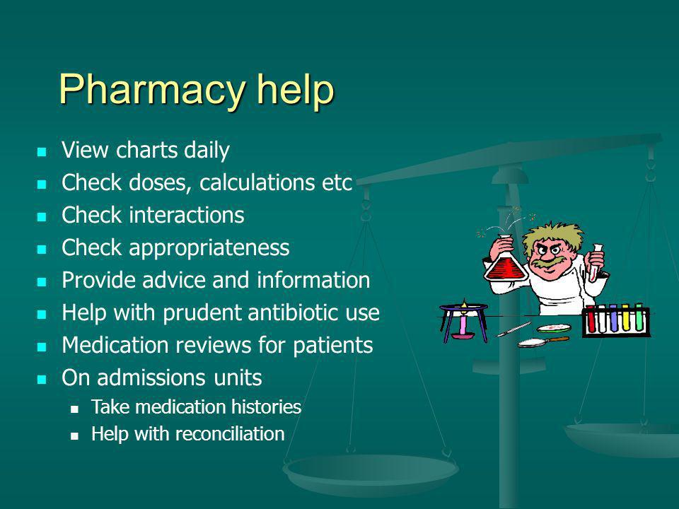 Pharmacy help View charts daily Check doses, calculations etc Check interactions Check appropriateness Provide advice and information Help with pruden