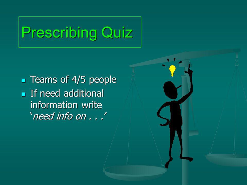 Prescribing Quiz Teams of 4/5 people Teams of 4/5 people If need additional information writeneed info on... If need additional information writeneed