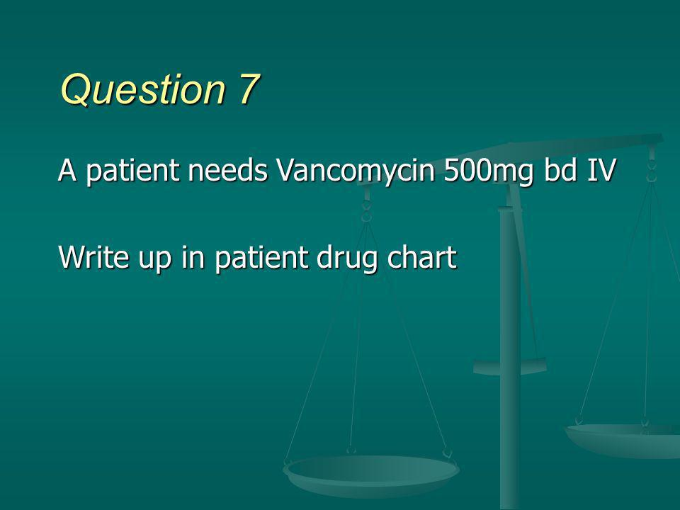 Question 7 A patient needs Vancomycin 500mg bd IV Write up in patient drug chart