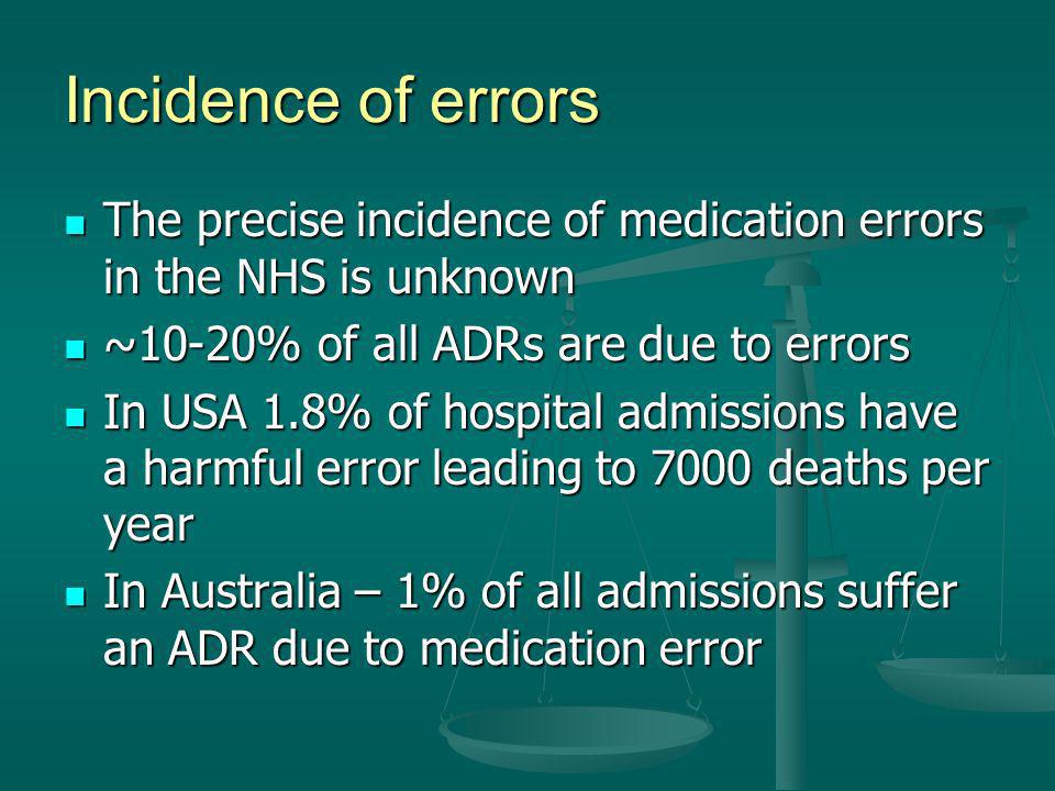 Incidence of errors The precise incidence of medication errors in the NHS is unknown The precise incidence of medication errors in the NHS is unknown