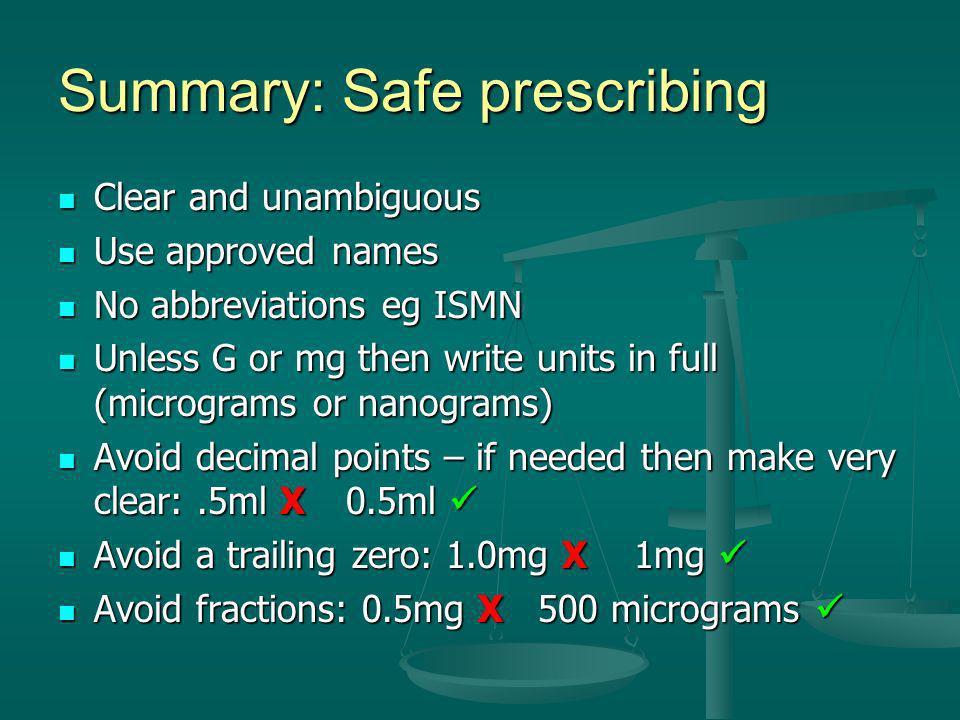 Summary: Safe prescribing Clear and unambiguous Clear and unambiguous Use approved names Use approved names No abbreviations eg ISMN No abbreviations