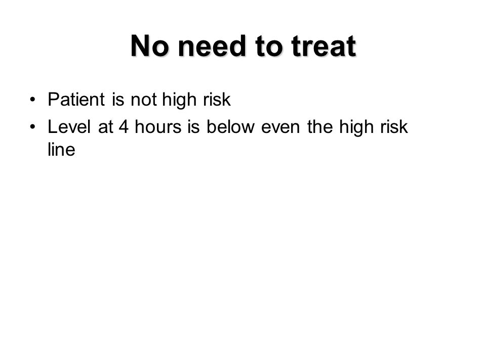 No need to treat Patient is not high risk Level at 4 hours is below even the high risk line