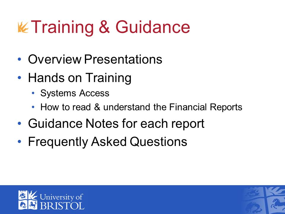 Training & Guidance Overview Presentations Hands on Training Systems Access How to read & understand the Financial Reports Guidance Notes for each rep