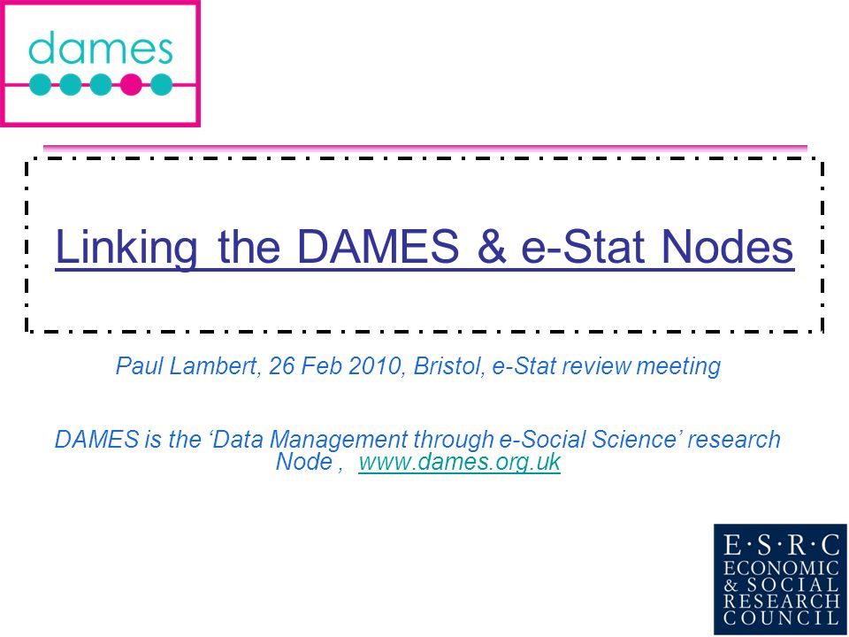 2 1.Some background on DAMES 2.First thoughts on linking DAMES and e-Stat 3.