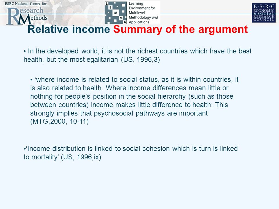 Relative income (continued) Underlying psycho-social model Income inequality Material Circumstances Health Inequality Dominance Hierarchy Gaps in Social Status Anxiety Stress Violence Social Cohesion Social Capital Life Expectancy Societal Structures Psycho-social Pathways Outcomes