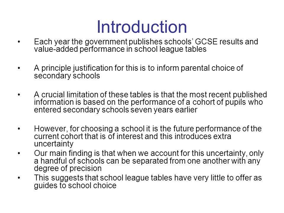 Outline of the talk School league tables Data Multilevel models –Estimate current school performance –Predict future school performance Conclusions