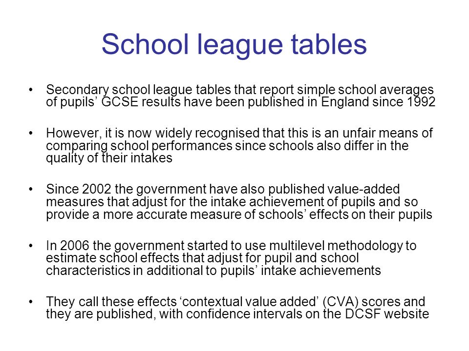 Adjusting and not adjusting for school compositional variables Grammar schools have a high mean and narrow a spread of achievement at intake The CVA model adjusts for these school level compositional variables This worsens the measured performance of the selective (grammar) schools relative to non- selective schools However, parents are interested in which schools will produce better subsequent achievement irrespective of whether this is due to school composition or its policies and practices ρ = 0.76