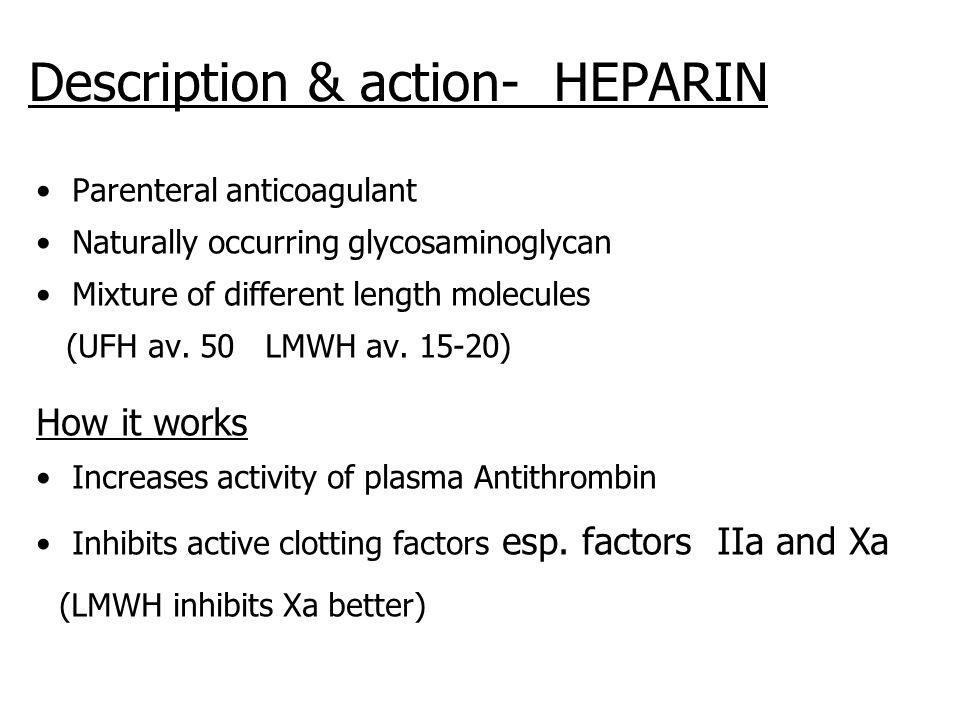 Description & action- HEPARIN Parenteral anticoagulant Naturally occurring glycosaminoglycan Mixture of different length molecules (UFH av. 50 LMWH av