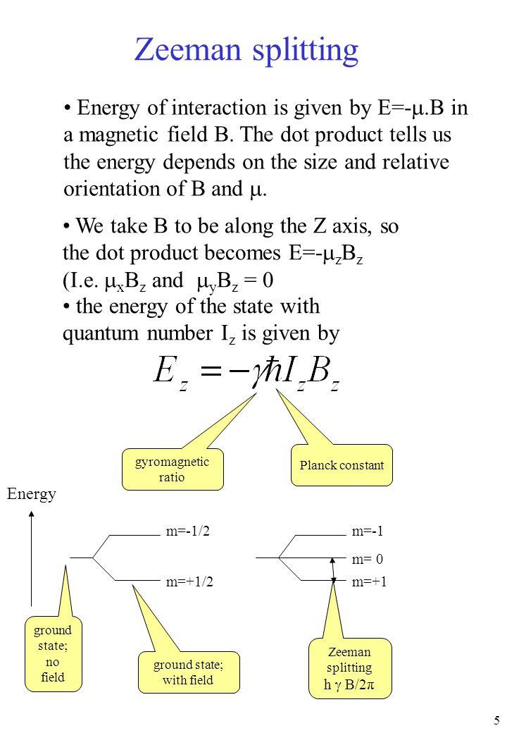 6 m=-1/2 m=+1/2 I=1/2 m=-1 m=+1 I=1 m= 0 The Zeeman splitting is therefore