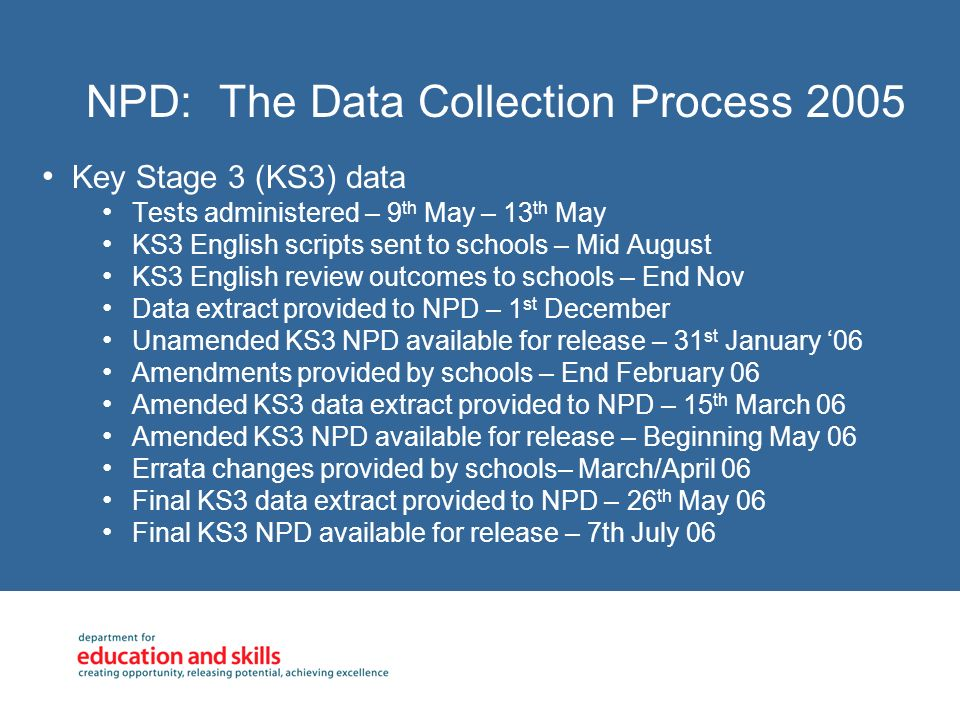 NPD: The Data Collection Process 2005 Key Stage 3 (KS3) data Tests administered – 9 th May – 13 th May KS3 English scripts sent to schools – Mid August KS3 English review outcomes to schools – End Nov Data extract provided to NPD – 1 st December Unamended KS3 NPD available for release – 31 st January 06 Amendments provided by schools – End February 06 Amended KS3 data extract provided to NPD – 15 th March 06 Amended KS3 NPD available for release – Beginning May 06 Errata changes provided by schools– March/April 06 Final KS3 data extract provided to NPD – 26 th May 06 Final KS3 NPD available for release – 7th July 06