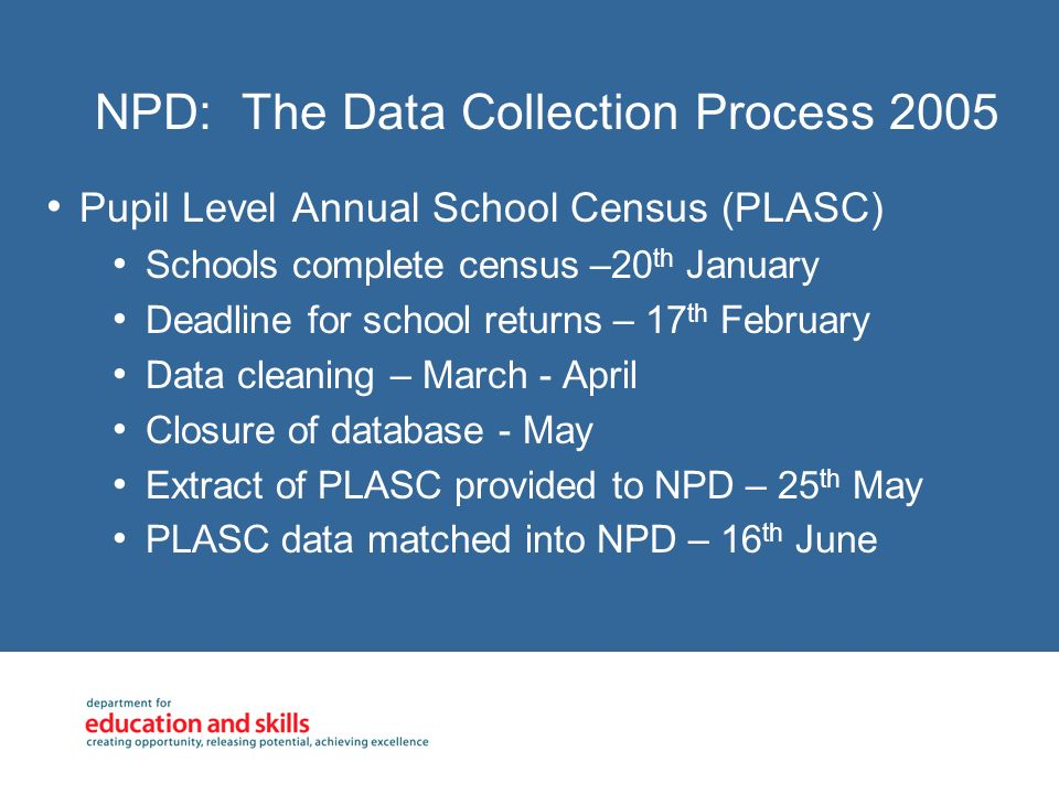 NPD: The Data Collection Process 2005 Key Stage 1 (Version 1 & Version 2) Schools complete KS1 assessments - 30 th June Local Authorities submit data to DfES – 31 st July KS1 version 1 extract provided to NPD – 10 th August KS1 NPD version 1 available on request – 13 th September Local Authorities chased - Autumn Term KS1 version 2 provided to NPD – End January 06 KS1 NPD version 1 available on request – Beginning March 06